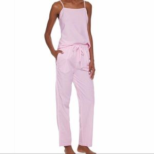 A SET of Sleepy Jones Pink Gingham cotton pajamas